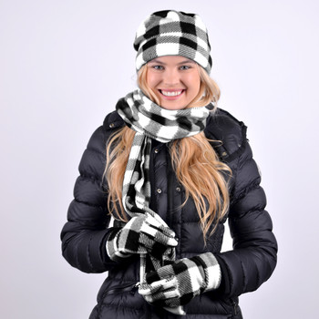 Women's Charcoal Plaid Fleece Winter Set WNSET9016