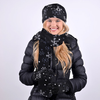 Women's Fleece Snow Flakes Black Winter Set WNSET1005