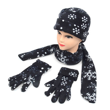 6pc Women's Fleece Snow flakes Black Hat,Scarf,Gloves Winter Set