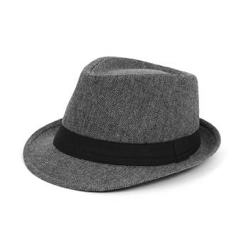 Fall/Winter Black & White Herringbone Trilby Fedora Hat with Black Band Trim - H1805256