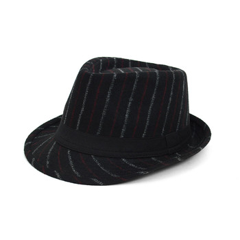Fall/Winter Black Wool-Type Trilby Fedora Hat with Burgundy & Gray Stripes - H1805258