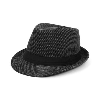 Fall/Winter Black Trilby Fedora Hat with Gray Dots & Black Band Trim - H1805260