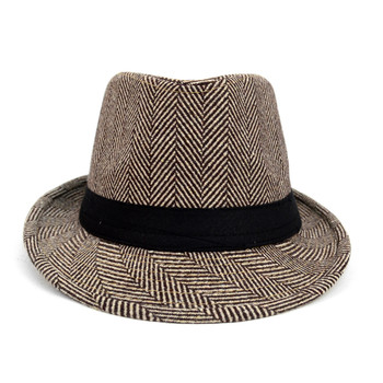 Fall/Winter Brown & Beige Herringbone Trilby Fedora Hat with Black Band Trim - H1805261
