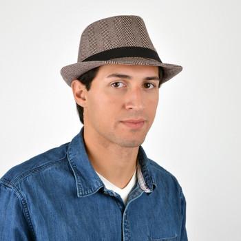 Fall/Winter Brown & Beige Herringbone Trilby Fedora Hat with Black Band Trim - H1805261