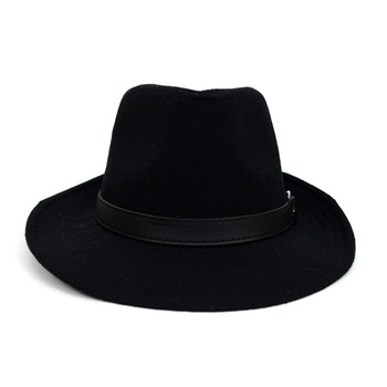 Fall/Winter Wide Brim Black Trilby Fedora Hat with Black Belt Trim - H1805263