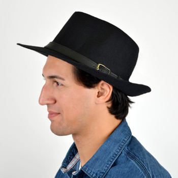 Fall/Winter Wide Brim Black Trilby Fedora Hat with Black Belt Trim - H1805263