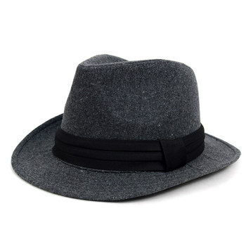 Fall/Winter Wide Brim Trilby Fedora Hat with Black Band Trim - H1805264