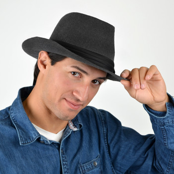 Fall/Winter Wide Brim Trilby Fedora Hat with Black Band Trim - H1805264