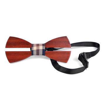 Men's Wooden Bow Tie, Plaid Fabric Centerpiece with Elastic Adjustable Strap - WBT1714