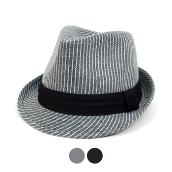 Fall/Winter Striped Trilby Fedora Hat with Black Band Trim-H1805016