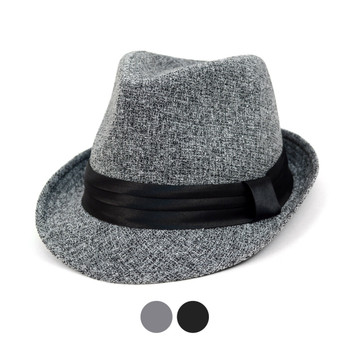 Fall/Winter Trilby Fedora Hat with Black Band Trim - H1805018