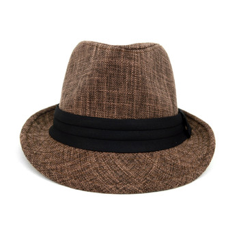 Fall/Winter Brown Trilby Fedora Hat with Black Band Trim - H1805020