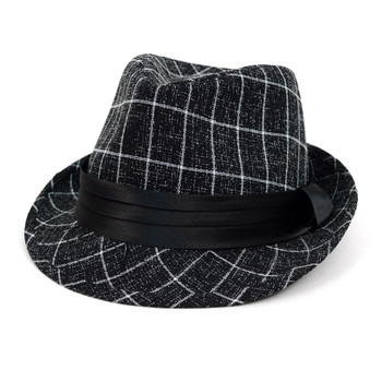 Fall/Winter Plaid Trilby Fedora Hat with Black Band Trim - H1805021