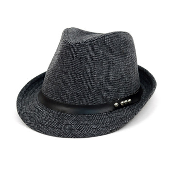 Fall/Winter Charcoal Trilby Fedora Hat with Black Leather Band - H1805024