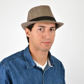 Fall/Winter Rhombus Geometric Trilby Fedora Hat with Black Band Trim - H1805025