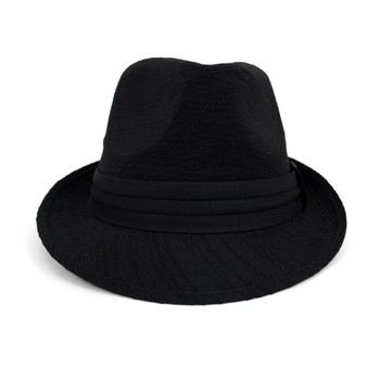 Fall/Winter Black Trilby Fedora Hat with Black Band Trim - H1805026