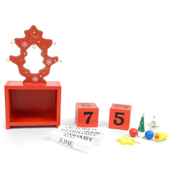 Red Christmas Tree Shape Wooden Calendar - XHDC5192
