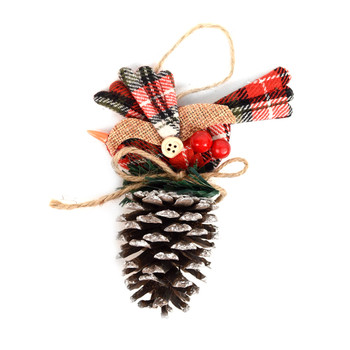 Pine Cone with Plaid Bird Christmas Ornament - XMAO5230
