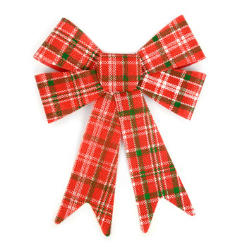 Christmas Holiday Red & Green Plaid Bow Decoration- XRT5186