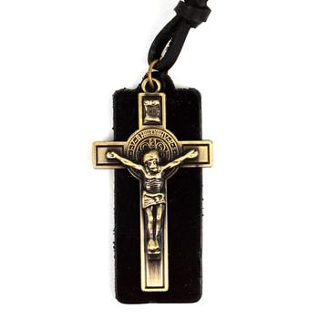 Vintage Unisex Religious Pendant Adjustable Leather Cord Necklace - NVNCK1005
