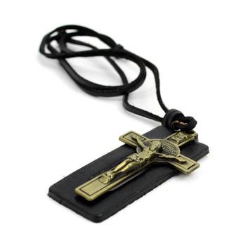 Vintage Unisex Religious Pendant Adjustable Leather Cord Necklace - NVNCK1004