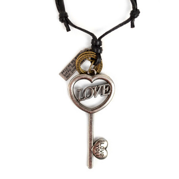 Vintage Unisex Heart Shape Key Skeleton Pendant Adjustable Leather Cord Necklace - NVNCK1002