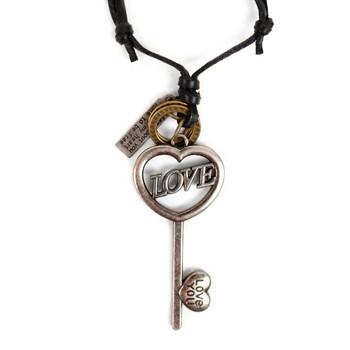 Vintage Unisex Heart Shape Key Skeleton Pendant Adjustable Leather Cord Necklace - NVNCK1002