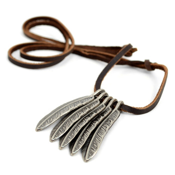 Vintage Unisex Feather Pendant Adjustable Leather Cord Necklace - NVNCK1001