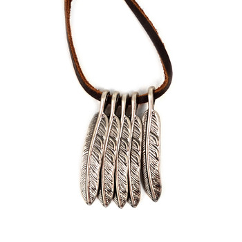 Vintage Unisex Feather Pendant Adjustable Leather Cord Necklace - NVNCK1001