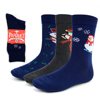 3 Pairs Pack Men's Christmas Snowman Crew Socks - 3PK-MXMS2