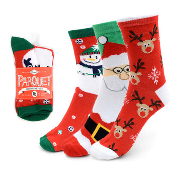3 Pairs Pack Ladies Christmas Holidays Crew Socks - 3PK-LXMS3