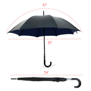 Black and Navy Auto Open Umbrella -UM18059-BLK
