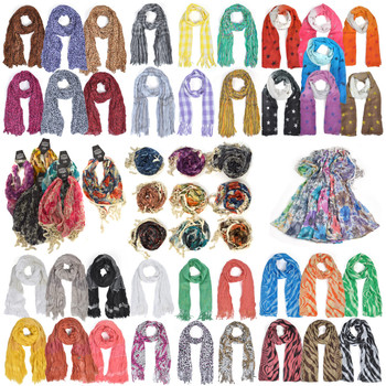 60pc Mixed Spring/Summer Viscose Fashion Scarves LVscarf-CO-60