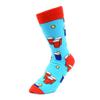 Women's Beer Pong Novelty Socks - LNVS1912-Blue