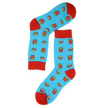 Women's Hamburger & French Fries Novelty Socks - LNVS19277-Blue