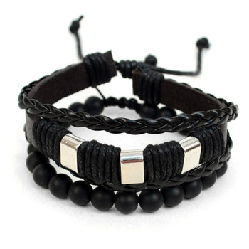 Genuine Leather & Natural Stone Two Pieces Bracelet Set for Men - 2BRCLT22