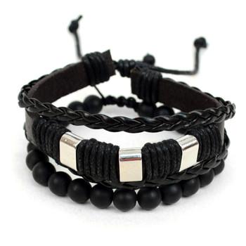 Genuine Leather & Natural Stone Two Pieces Bracelet Set for Men - 2BRCLT22