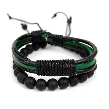 Genuine Leather Green-Black & Natural Stone Two Pieces Bracelet Set for Men - 2BRCLT20