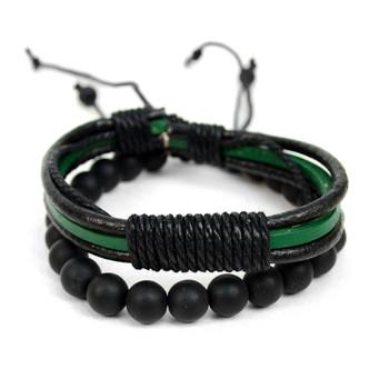 Genuine Leather Green-Black & Natural Stone Two Pieces Bracelet Set for Men - 2BRCLT20