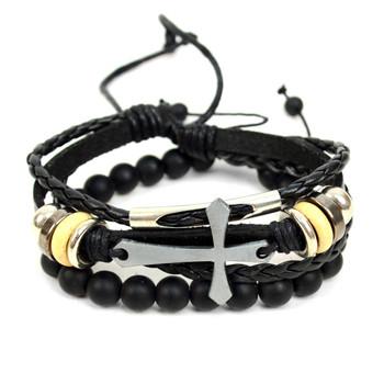 "Genuine Leather & Natural Stone ""Cross"" Two Pieces Bracelet Set for Men - 2BRCLT17"