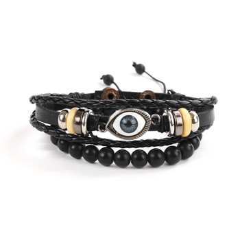 """Genuine Leather & Natural Stone """"Eye"""" Two Pieces Bracelet Set for Men - 2BRCLT16"""