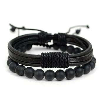 Genuine Leather & Natural Stone Two Pieces Bracelet Set for Men - 2BRCLT13