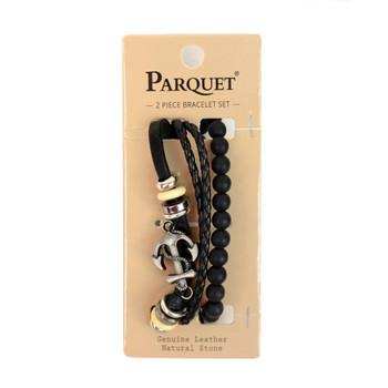 "Genuine Leather & Natural Stone ""Anchor"" Two Pieces Bracelet Set for Men - 2BRCLT04"