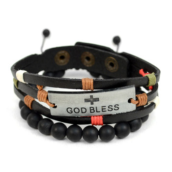 "Genuine Leather & Natural Stone ""God Bless"" Two Pieces Bracelet Set for Men - 2BRCLT03"