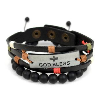 "Genuine Leather & Natural Stone ""God Bless"" Two Pieces Bracelet Set for Men - 2BRCLT03"