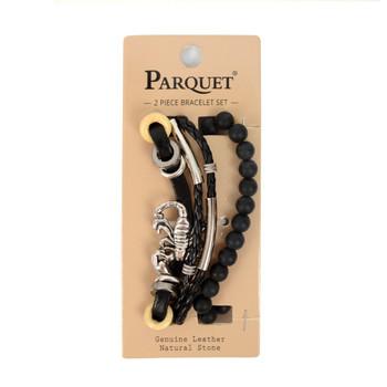 "Genuine Leather & Natural Stone ""Scorpion"" Two Pieces Bracelet Set for Men - 2BRCLT02"