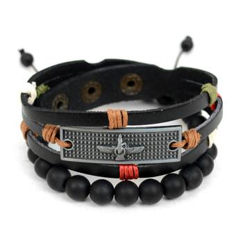 Genuine Leather & Natural Stone Two Pieces Bracelet Set for Men - 2BRCLT01