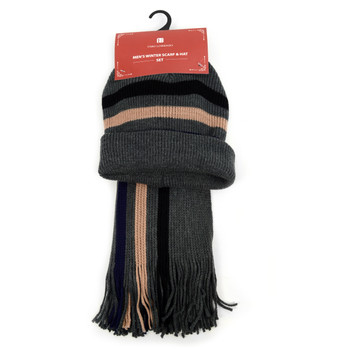 Men's Winter Knit Scarf and Hat Set - ASCS1001