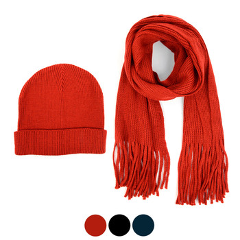 Men's Winter Knit Scarf and Hat Set - ASCS1005
