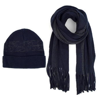 Men's Winter Knit Navy Scarf and Hat Set - ASCS1006